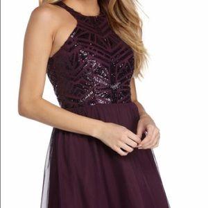 sequined purple hoco dress